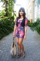 purple Topshop dress - brown Schu shoes - gold Rampage accessories - blue Mango