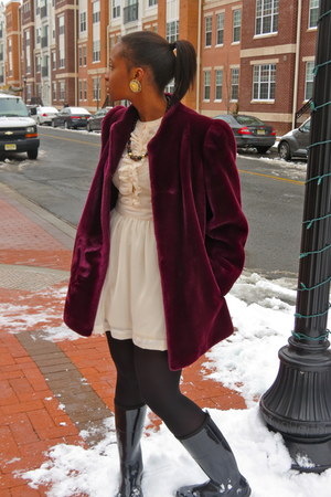faux fur coat - dress