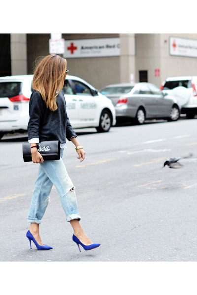 blue heels - light blue jeans