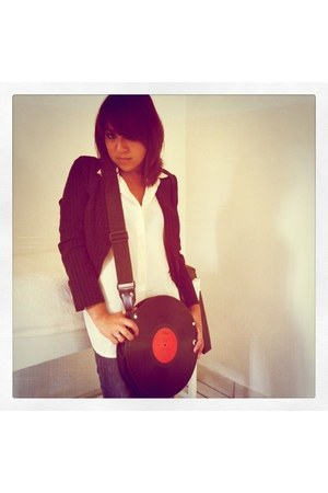 ruby red unknown bag - charcoal gray Zara jeans - black Bershka blazer