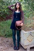 dark brown cardigan - black classy dress - forest green tights