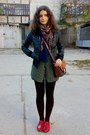 Black-sweater-dark-green-wissmach-vest-black-skirt-black-jacket-brown-