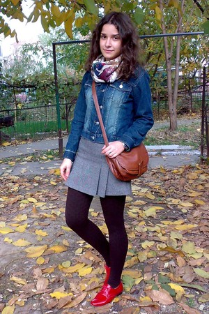 black sweater - blue jacket - heather gray Terranova skirt - dark brown tights -