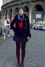 Black-wool-h-m-coat-dark-brown-tights-navy-thrifted-floral-scarf
