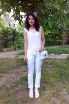 white blouse - white top - white pants - white purse - beige - gray