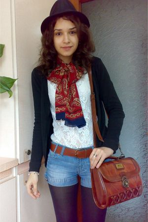 black oxford Fabio Lenzi shoes - red scarf - blue denim shorts - brown