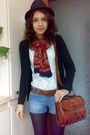 White-blouse-black-cardigan-blue-shorts-brown-red-scarf-black-fabio-le
