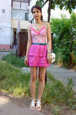 white top - pink skirt - green belt - white purse - white - silver necklace