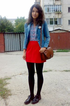 blue H&amp;M shirt - red Orsay skirt - blue jacket - black Mondex tights - brown pur
