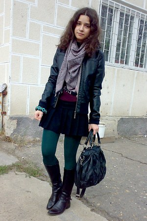 black jacket - maroon sweater - green tights - light pink scarf