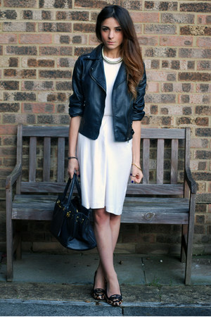 black leather biker jacket - white white dress dress - gold gold torque necklace