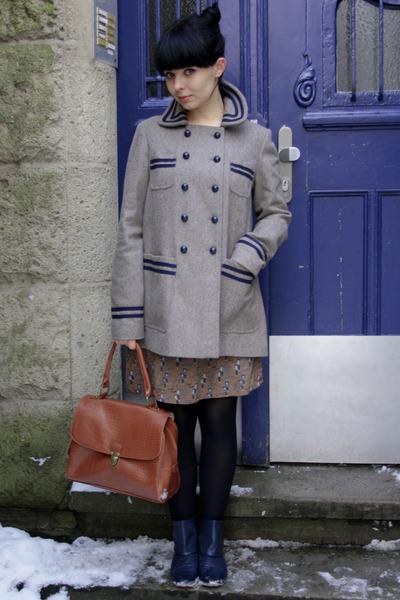 light brown Topshop coat - navy Bata shoes - tawny Topshop bag - brown Zara dres