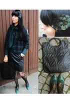black H&M stockings - green Stradivarius jacket - black vintage skirt - green br