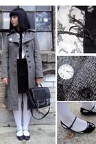 black vintage bag - gray tweed Oasis coat