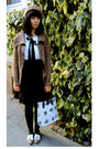 Brown-shoes-white-bag-white-atmosphere-dress-brown-h-m-cardigan-brown-h-