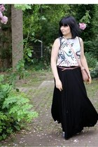 light pink bag - ivory Promod blouse - black maxi skirt