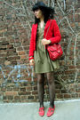 Green-london-dress-red-office-shoes-red-topshop-jacket