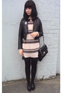 Pink-msbutterfly-dress-black-h-m-jacket-black-new-look-purse