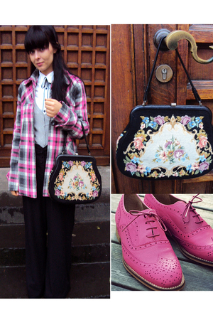 pink c&amp;a coat - pink Topshop shoes - black vintage bag - white troll blouse
