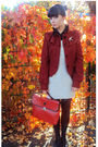 Red-bag-red-topshop-jacket-beige-dress-beige-vintage-accessories-black-t