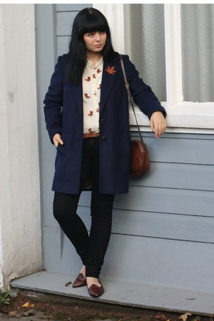 navy Primark coat - cream asos blouse - crimson Vinatge loafers