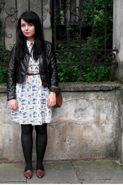 toile Atmosphere dress - biker H&M jacket - vintage loafers