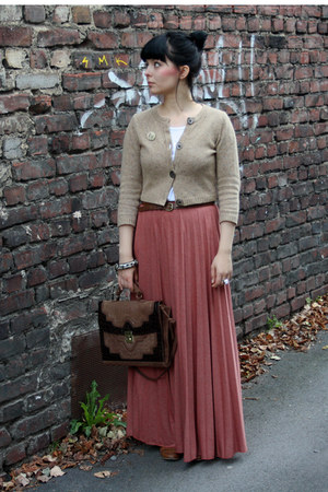 maxi skirt Topshop skirt - brown Primark bag - next cardigan