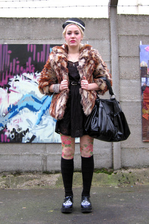 brown faux fur Miss Sixty coat - cream vintage vintage hat