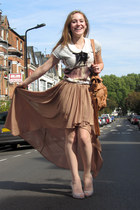 camel high-low River Island skirt - bronze bag St Oliver bag