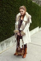 tawny Ari shoes - dark brown Guess bag - off white Zara coat - ruby red Pimkie t