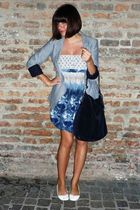 blue Zara blazer - blue Flow dress - white shoes - blue accessories