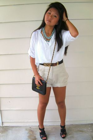 blue Forever 21 necklace - white Forever 21 shirt - beige H&amp;M shorts - black Ste