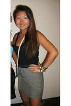 black Forever 21 top - gray Urban Outfitters skirt - white vintage bag - gold vi
