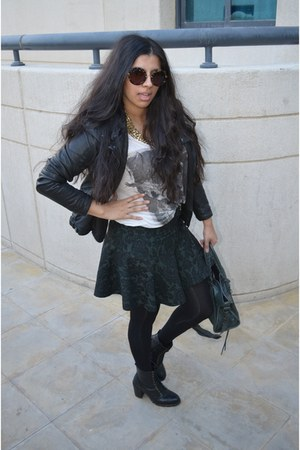 Zara skirt - black River Island boots - leather jacket Zara jacket
