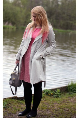 heather gray Primark coat - pink Dahlia dress - heather gray asos bag