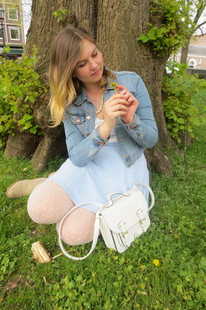 sky blue jacket - white tights - light blue skirt - beige wedges