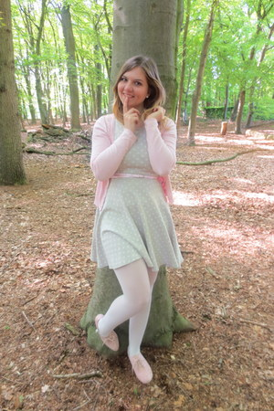 light pink cardigan - silver dress - white tights - light pink pumps