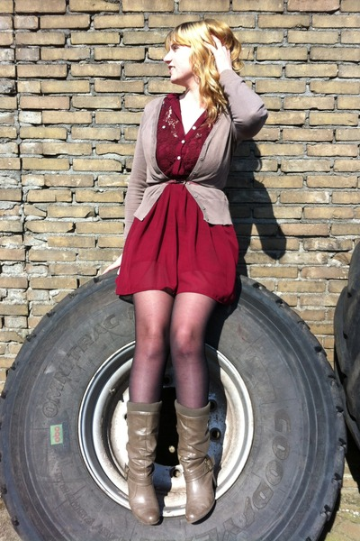 olive green boots - brick red chiffon dress - black tights