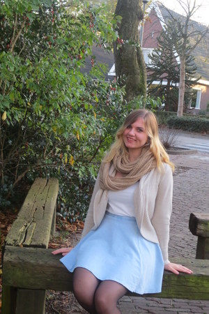 black tights - camel scarf - white top - light blue skirt - beige cardigan