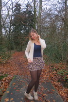 dark brown tights - navy top - camel skirt - beige cardigan - camel wedges