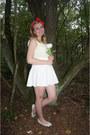 Cream-blouse-white-skirt-white-flats-red-hair-accessory