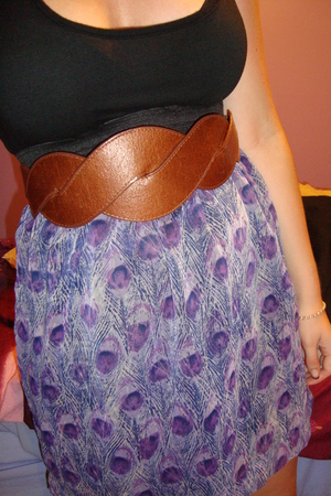 brown belt - purple dress