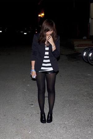 black Theory blazer - black Forever 21 shorts - black kirkland signature tights