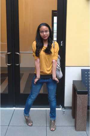 navy indigo rein jeans - mustard One Clothing blouse - brown merona sandals