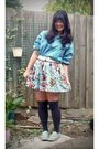Blue-guoya-shirt-blue-dotti-skirt-white-unknown-belt-gray-unknown-socks-