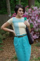 blue Idioms skirt - yellow Heidi & Seek shirt - brown vintage belt - black Sally