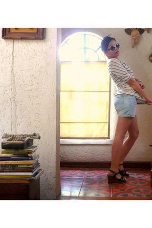 blue all over accessories - Kenneth Cole shoes - DIY shorts - thrifted shirt - A