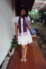 White-unknown-brand-dress-purple-unknown-brand-scarf-purple-unknown-brand-sa