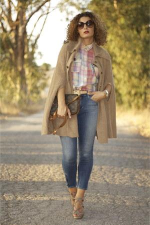 H&M jeans - Zara shirt - Louis Vuittons bag - Zara cape - Topshop heels