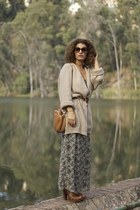 bronze H&M cardigan - army green H&M dress - burnt orange Uterque bag